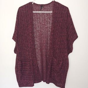 HeartSoul Black and Red Short Sleeve Cardigan